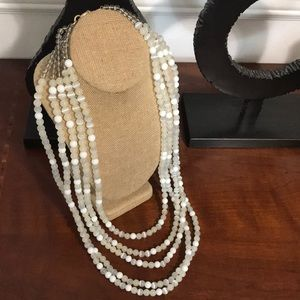 Multi Strand White Bead Necklace